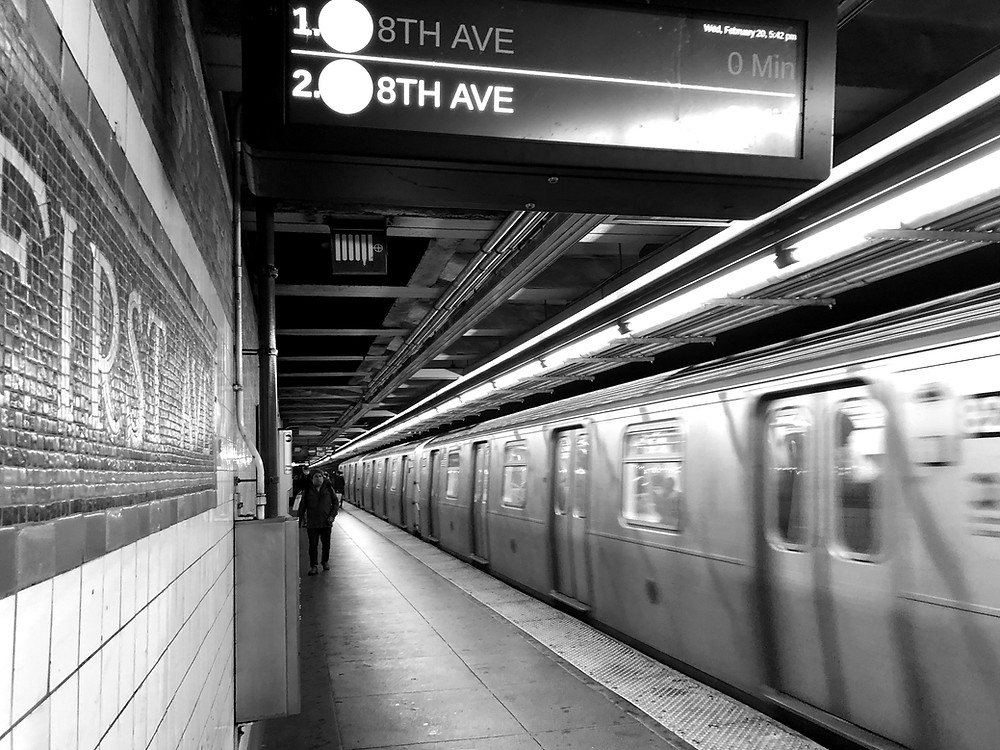 L train at First Av station