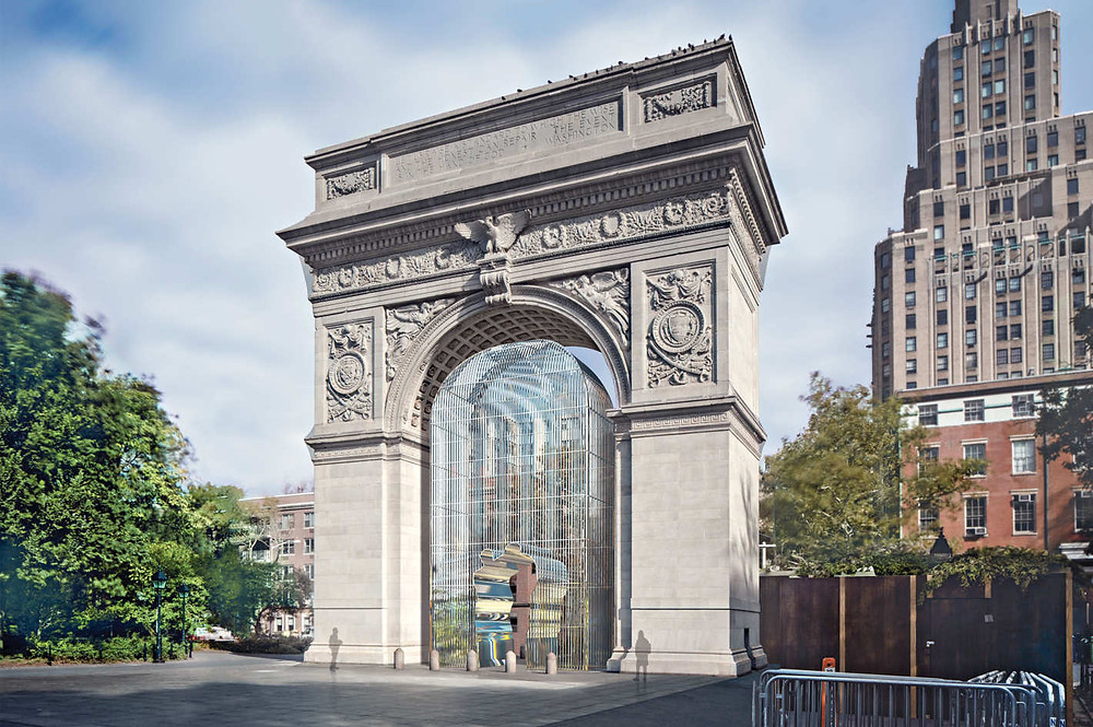 "A rendering of one piece in Ai Weiwei's multipart Public Art Fund project ""Good Fences Make Good Neighbors"" at Washington Square Park. Photo: Courtesy of Ai Weiwei Studio/ Frahm & Frahm. Artworks Advisory"