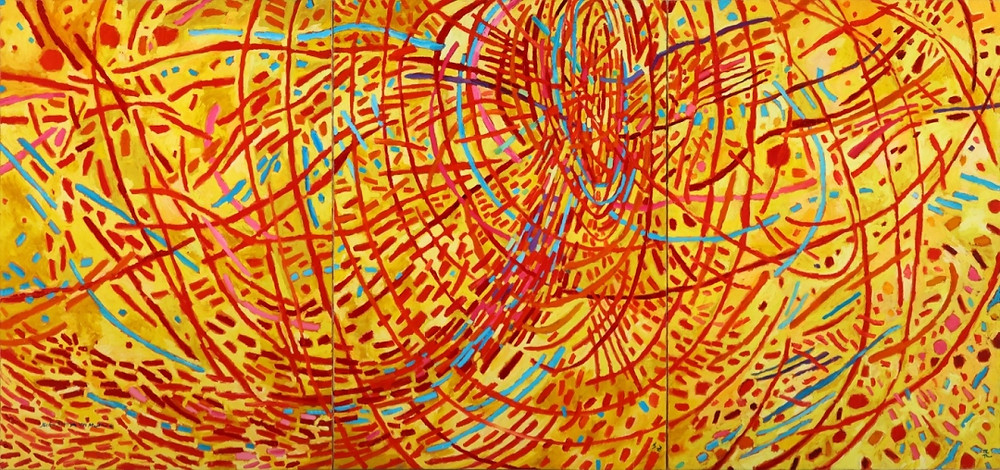"""Mildred Thompson, """"Magnetic Fields"""" (1991) oil on canvas, triptych 70.5 x 150 inches (art and photo courtesy and copyright of the Mildred Thompson Estate, Atlanta, GA). Artworks Advisory"""