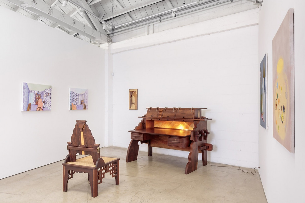 Installation view of at The Useful and the Decorative at the Landing, featuring furniture by Garry Knox Bennett. Artworks Advisory