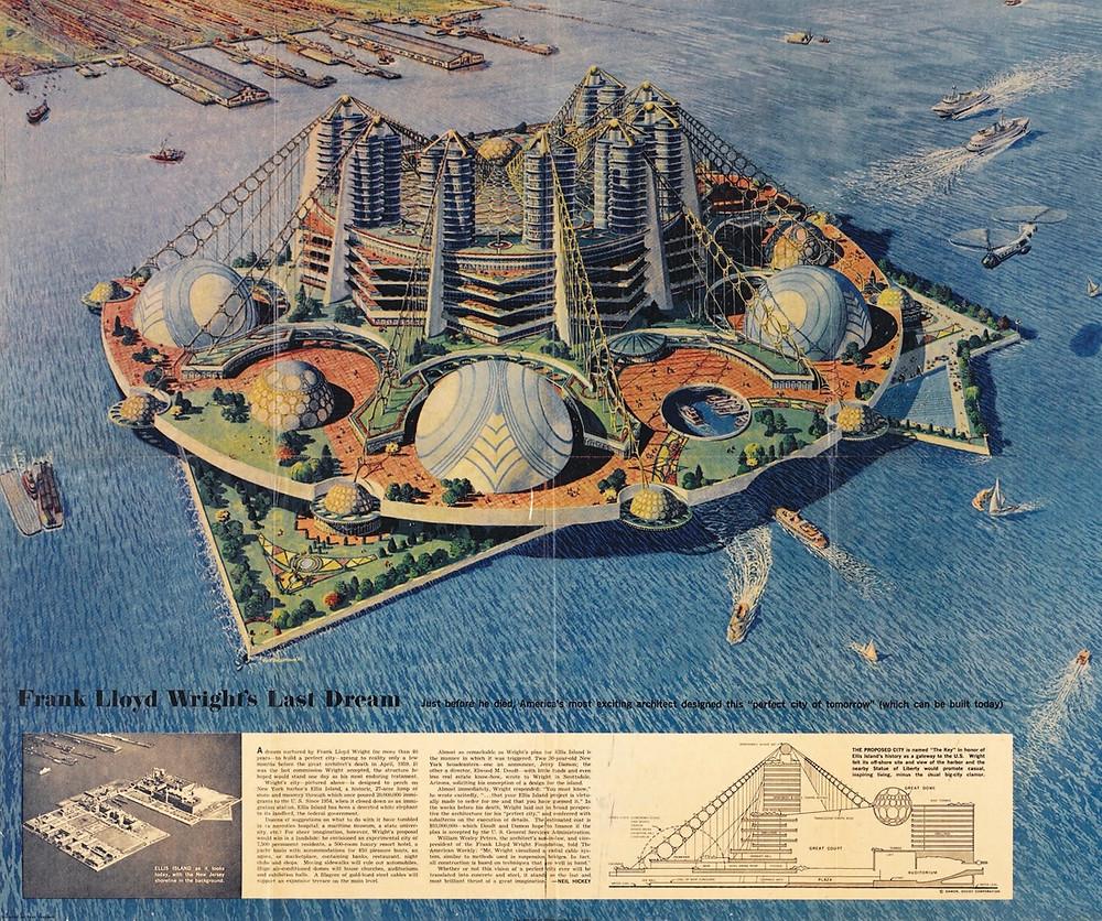 Frank Lloyd Wright, Key Project for Ellis Island, 1959. Courtesy of ARTBOOK | D.A.P. Artworks Advisory
