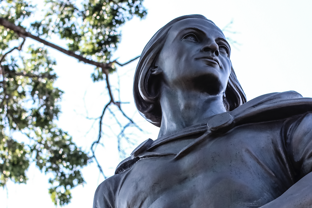 """The Columbus statue in Astoria stenciled with """"Don't Honor Genocide"""" last week could get a more permanent disclaimer if the mayor has his way. Artworks Advisory Art News Culture Reviews New York Art Leasing"""