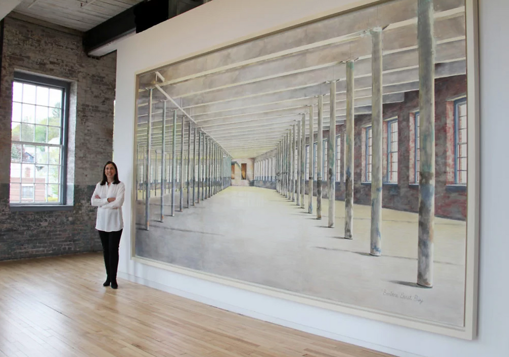 Barbara Prey and her work at Mass MoCA. Photo: Courtesy of the artist. Artworks Advisory