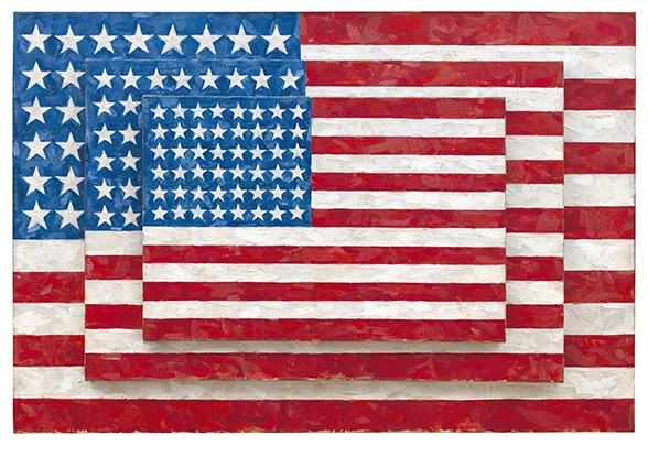 Jasper Johns, Three Flags (1958). (© Jasper Johns/Licensed by VAGA, New York, NY. Photo by Jamie Stukenberg © Wildenstein Plattner Institute, New York)