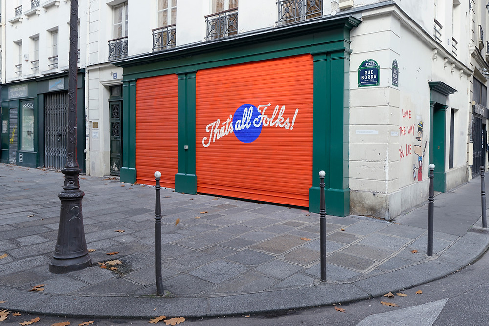Aguirre Schwarz, That's All Folks!, 2017, road paint, pure pigment, and synthetic resin on metal shutter, installation view. AURÉLIEN MOLE/COURTESY NEW GALERIE, PARIS. Artworks Advisory New York