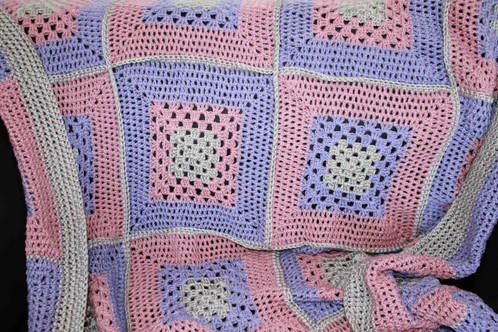 Pink Lilac And Silver Crochet Lap Blanket