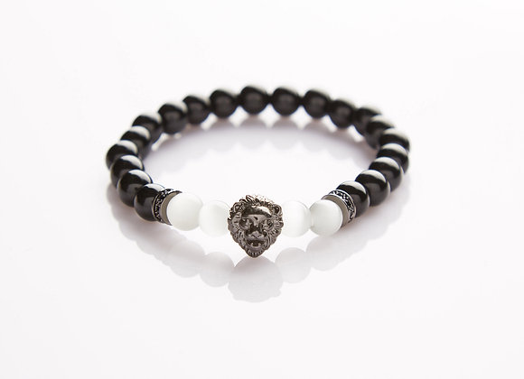 J. By Jee Natural Stone Obsidian Moonstone with Onyx Lion Head Bracelet