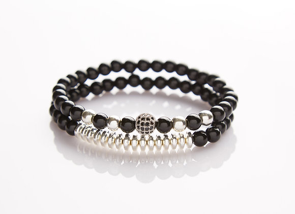 J. By Jee Natural Onyx Stone Bead with Crystal Silver Charm Bracelet