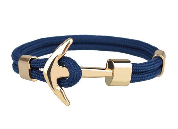 J. By Jee Basic Gold Anchor Bracelet (Blue Stripe)