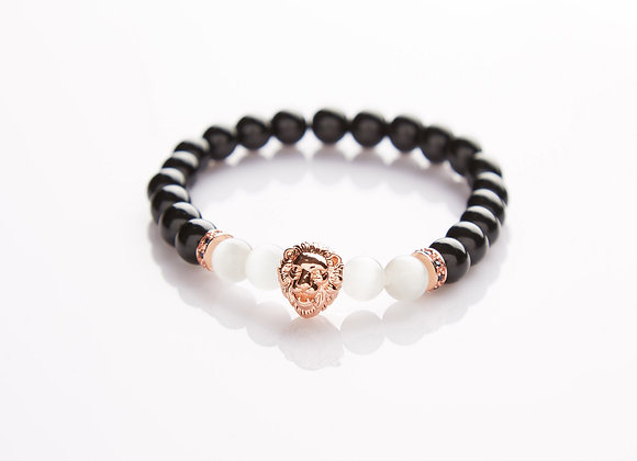 J. By Jee Natural Stone Moonstone with Rose Gold Lion Head Bracelet