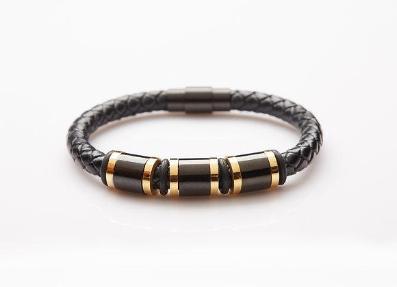 J. By Jee Triplet Black Gold Steel with Black Alloy Bucklet Leather Bracelet