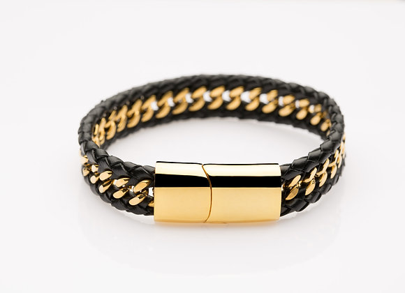 Gold-laced Black Leather