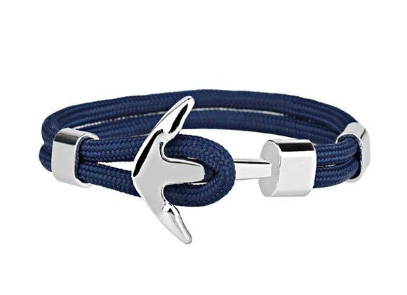 J. By Jee Basic Silver Anchor Bracelet (Blue Stripe)
