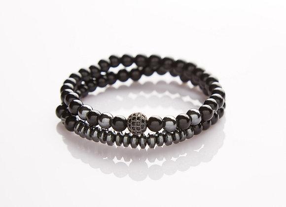 J. By Jee Natural Onyx Stone Bead with Crystal Black Charm Bracelet