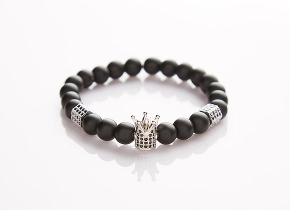 J. By Jee Natural Onyx Stone Bead with Crystal Silver Crown Bracelet