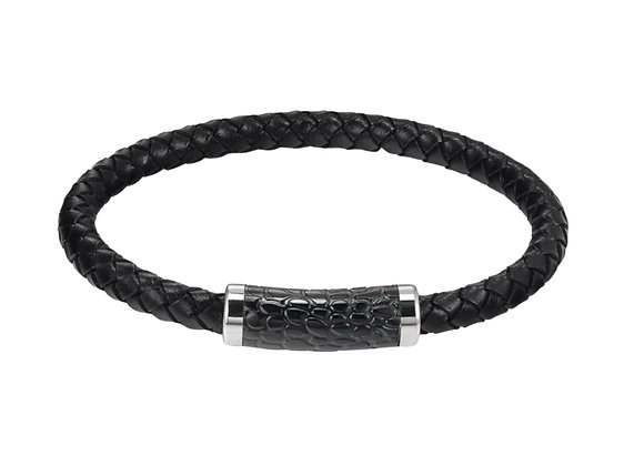 J. By Jee Black Bi-braided Leather Texture Clasp Bracelet
