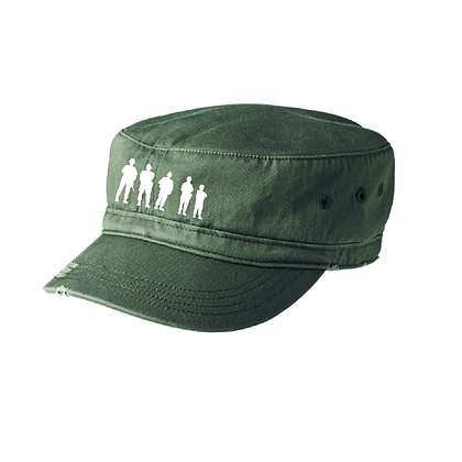 Distressed Military Hat with Embroidered BBP Logo - Olive Drab