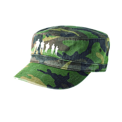 Distressed Military Cap - Camo with Embroidered BBP Logo