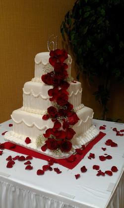 red white wedding cake
