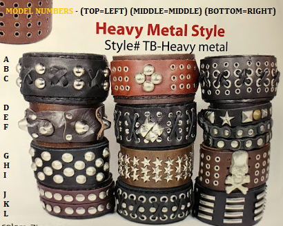 Handmade Leather Cuffs - Heavy Metal Style