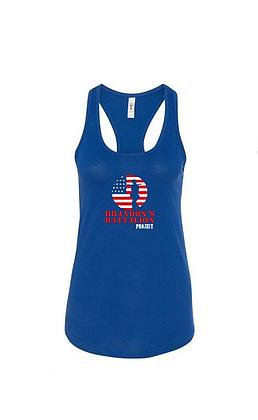 Ladies Soft Blend Tank - Royal HERO Design Red/White/Blue Front