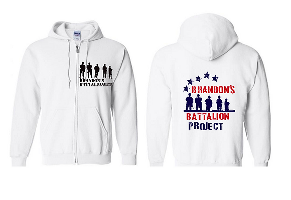 ZIPPERED HOODIE - WHITE - STAR DESIGN - RED, WHITE, BLUE - BACK