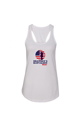 Ladies Soft Blend Tank - HERO Design Red/White/Blue Front