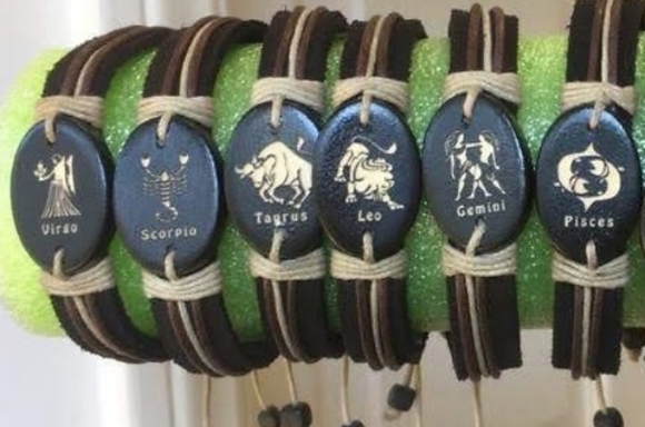 Zodiac Bracelets - Laser Engraved Wood, Leather & Hemp