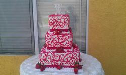 three tier red white cake wedding