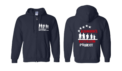 Zippered Hoodie with Star Spangled Design-2 sided Print - Navy
