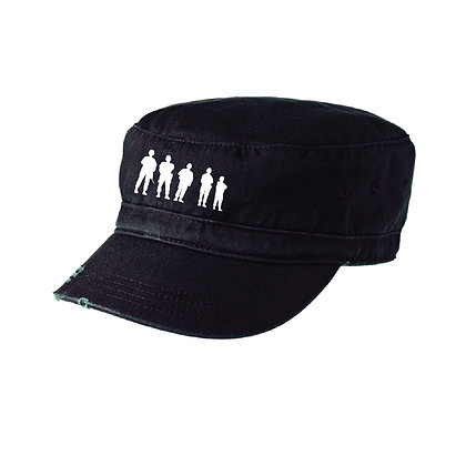 Distressed Military Hat with Embroidered BBP Logo - Black