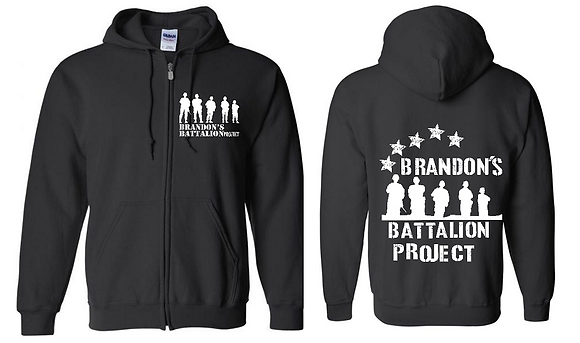 Black Zippered Hoodie with Star Spangled Design