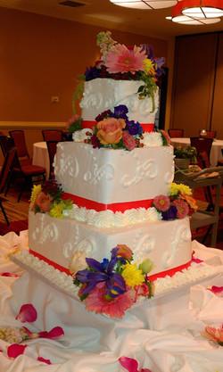 four tier flower wedding
