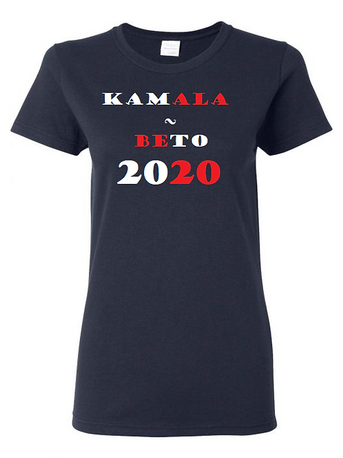 Kamala - Beto 2020 Navy Ladies' Tee with Red/White Print