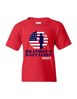 HERO-Brandon's Battalion Project Red Youth Tee - Red/White/Blue Design