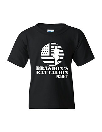 HERO - Brandon's Battalion Project Black Youth Tee - White Design