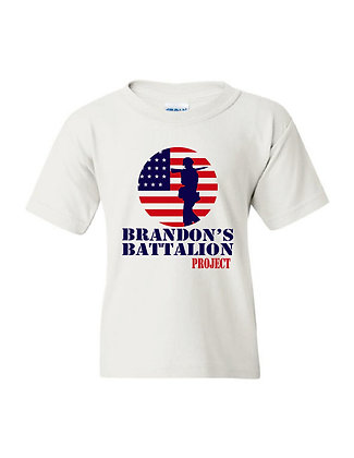 HERO/Brandon's Battalion Project - White Youth Tee - Red/White/Blue Design