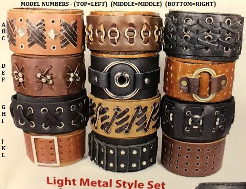Handmade Leather Cuffs - Light Metal