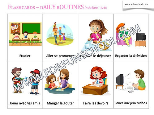 Daily routines - French flashcards