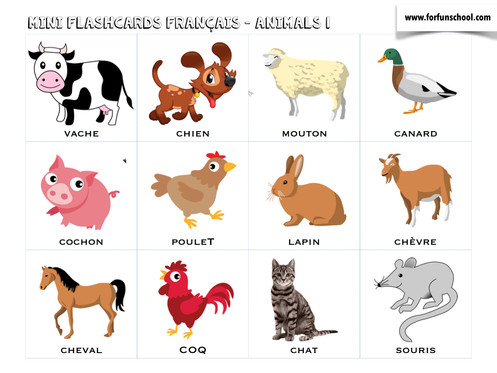 graphic regarding Printable Animal Flash Cards identified as French Pets Flashcards