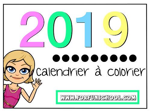 Calendrier à colorier 2019