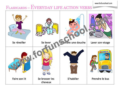 Everyday Life action verbs - French Flashcards
