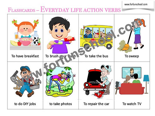Everyday Life action verbs Flashcards