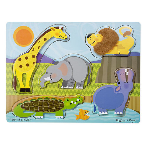ROMPECABEZAS TOCA Y SIENTE ANIMALES DEL ZOOLOGICO-ZOO ANIMALS TOUCH AND FEEL