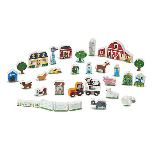 SET DE MADERA GRANJA Y TRACTOR-WOODEN FARM AND TRACTOR PLAY SET-MD
