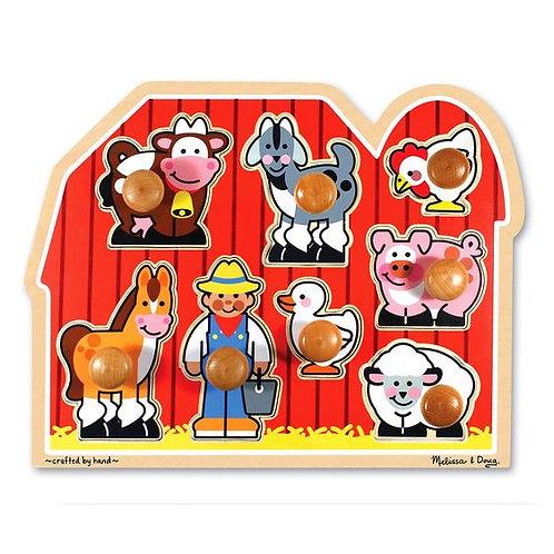ROMPECABEZAS ANIMALES DE LA GRANJA JUMBO-FARM FRIEND LARGE PEG PUZZLE-M & D