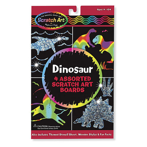 DINOSAURIOS RASPA Y DESCUBRE-DINOSAUR 4 SCRATCH ART BOARDS