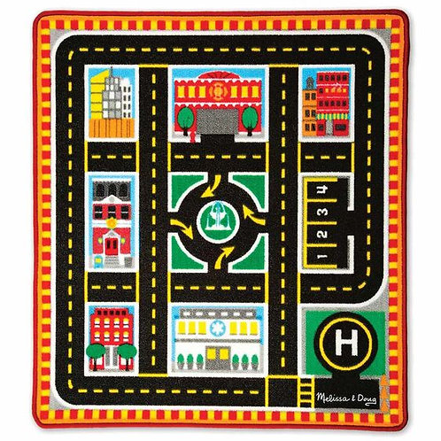 TAPETE VEHICULOS DE RESCATE-ROUND THE CITY RESCUE RUG AND VEHICLE SET