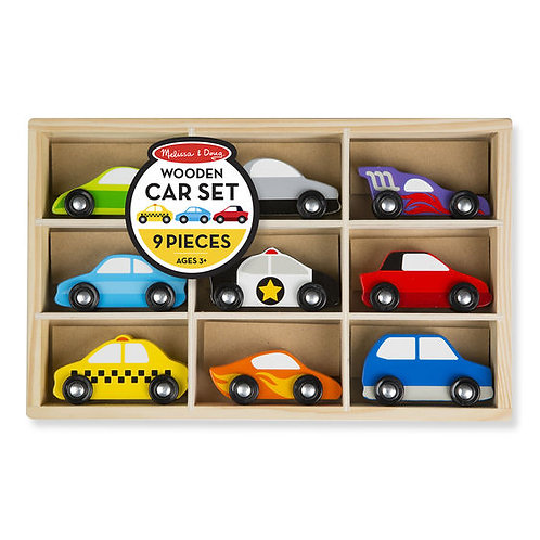 SET DE CARROS 9 PIEZAS-WOODEN CAR SET-MELISSA AND DOUG