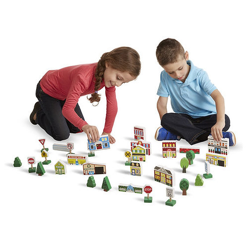 LA CIUDAD SET BLOQUES DE MADERA-TOWN BLOCKS WOODEN PLAY SET-MD